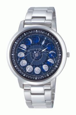 ASTRODEA 新月齢ウオッチダークブルー(4万5150円)。大小2枚の自動回転円盤が内蔵され、太陽と月の位置、月齢を自動表示