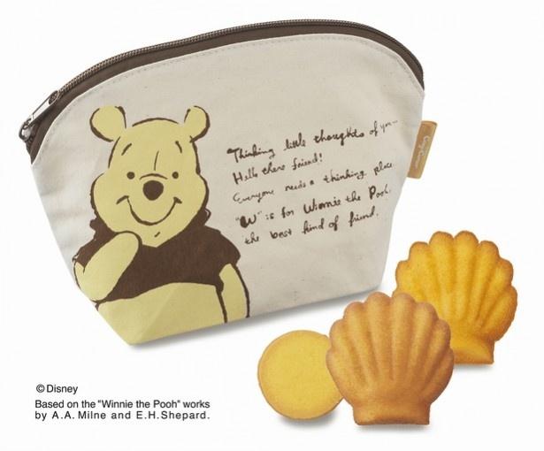 「はちみつDAYポーチ(3種9個入)」。くまのプーさんが描かれたポーチの中には、はちみつレモンマドレーヌとはちみつオレンジマドレーヌ、はちみつジンジャー風味のクッキーが