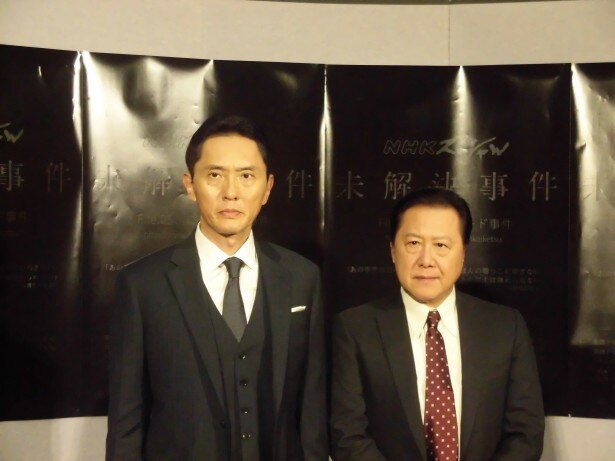 「NHKスペシャル 未解決事件  File.05 ロッキード事件」の実録ドラマパートに出演した(写真左から)松重豊と石橋凌