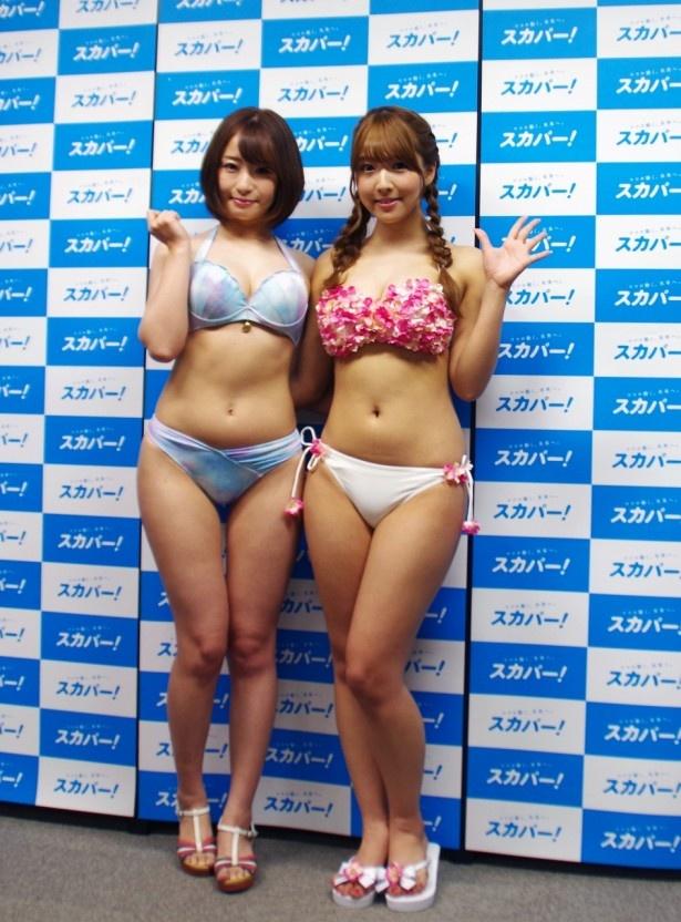 「第2回セクシー女優ダラケ!のスカパー!水泳大会」に出演したセクシー女優の初美沙希と三上悠亜