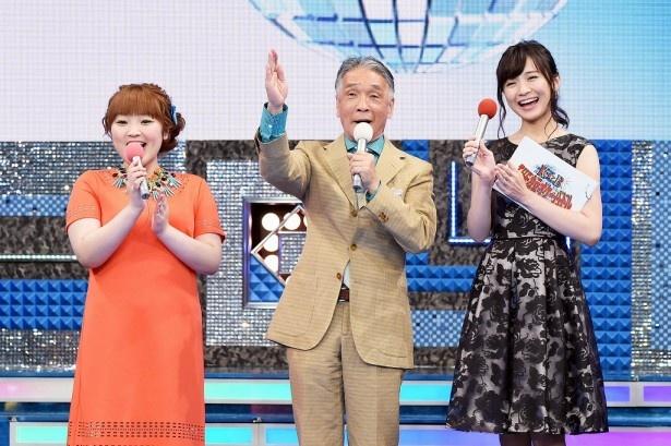 「THEカラオケ★バトル」のMCを務める柳原可奈子、堺正章、繁田美貴アナ(写真左から)