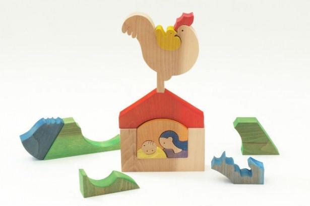 有馬玩具博物館では組み木デザイナーの小黒三郎氏の図案を使った動物の組み木やパズルを作る体験ができる