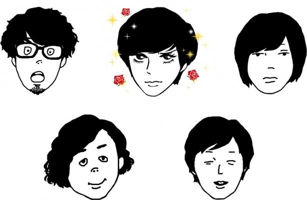 ボーカル&ギターのヤマサキのみ美しい顔となったイラストのアー写