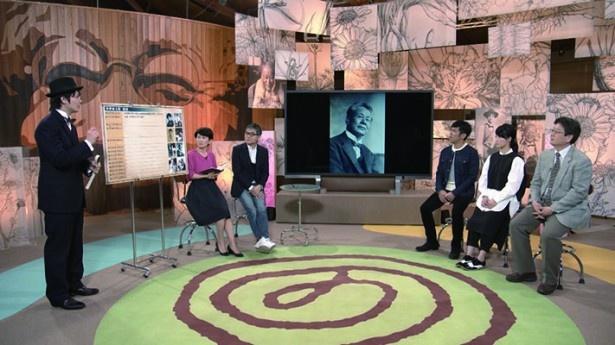 「牧野植物ふしぎ図鑑」の収録風景。高知県立牧野植物園に特設スタジオを組んだ
