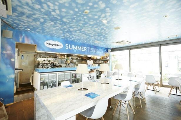 青と白を基調とした、爽やかな店内。南フランスをイメージしているという