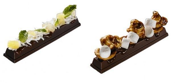 冷やす前はこんな感じ。「氷点下ショコラトリー」左:パイン+コナッツ+ミント、右:キャラメルポップコーン+マシュロ+プレッツェル