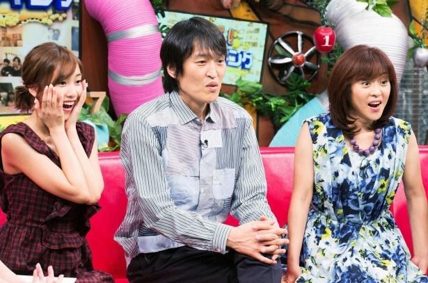 「仰天!(珍)ランキング」で衝撃の結果に目を丸くする松本明子、千原ジュニア、佐野ひなこ(写真右から)