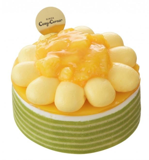 夏の花ヒマワリをイメージしたデコレーションケーキ「マンゴーのひまわりケーキ(3.5号)」(1490円)