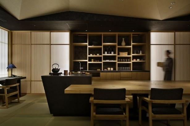 客同士の社交場にもなる、お茶の間ラウンジ。お茶やお酒でくつろげる