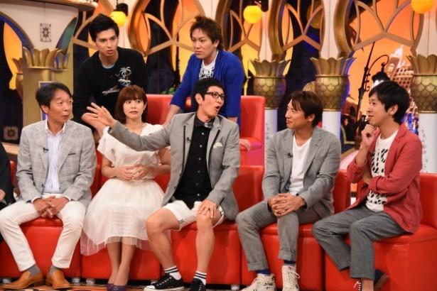 「快傑えみちゃんねる」でアンタッチャブル・柴田英嗣(中央)が元妻のW不倫と妊娠騒動について語る