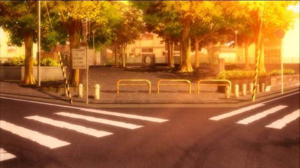 """タクムとチユリが学校帰りに""""加速世界""""の話をしていたシーンで「高円寺中央公園」が登場"""