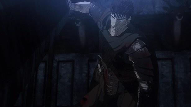 アニメ「ベルセルク」第3話の先行カットが到着。逃亡中のガッツに襲いかかる闇