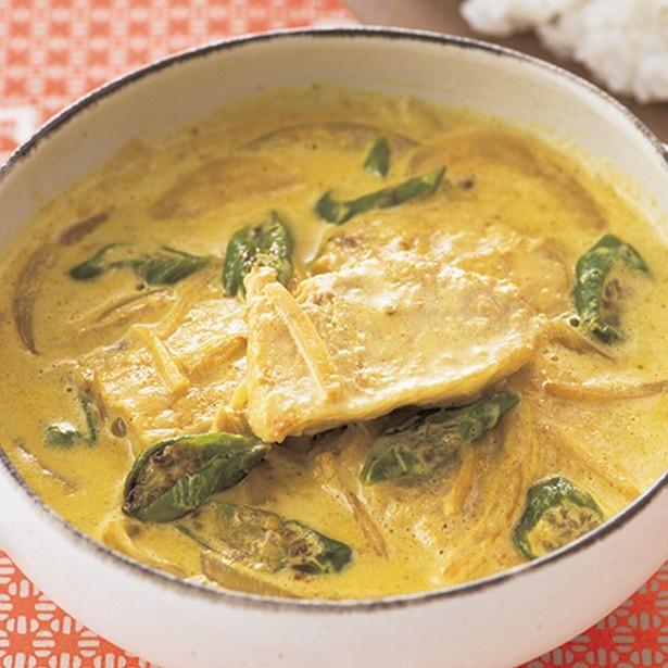 まろやかな味のインド風カレー。「かじきカレー」