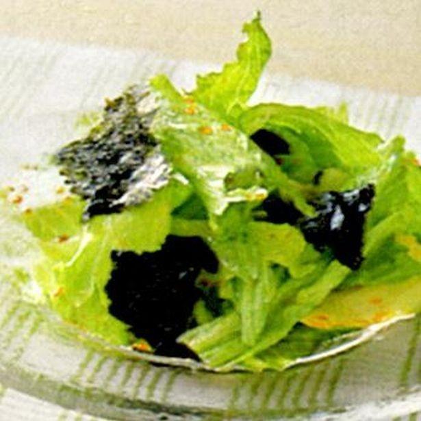 【写真を見る】ちょっと一品足りないときに。「レタスとのりのサラダ」