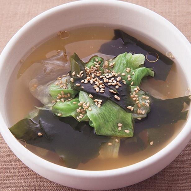食物繊維たっぷりの美腸メニュー。「わかめとレタスのスープ」