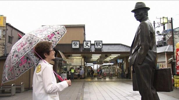 「寅さん鉄道ふれあい旅」より。寅さんの故郷の東京・柴又に降り立った倍賞千恵子