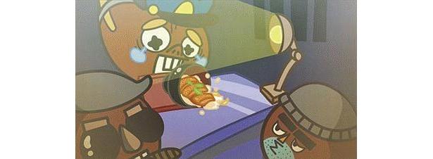 アニメの一場面。カツ丼を前に取り調べられているのは、ババ曲書のババ曲くん(中央)!?