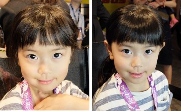 左:メーク前→右:メーク後。唇つやプル、髪ツヤッツヤになったせいか、ふうかちゃん(4歳)はちょっぴりレディーな表情に