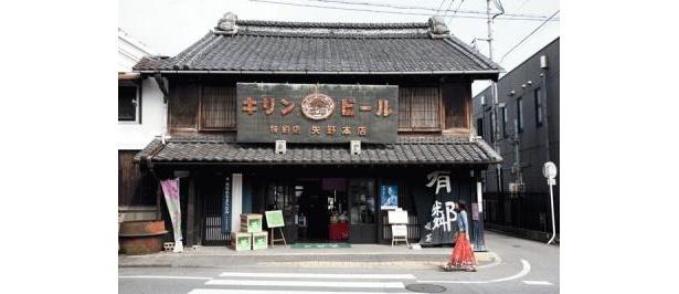 桐生の町にある「矢野園」はキリンビールの看板がレトロ