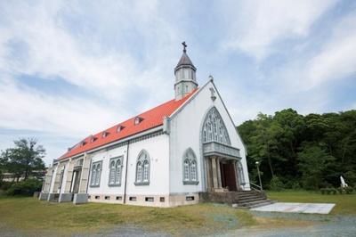 ザビエル聖堂。鹿児島市にあったザビエル聖堂を、保存のため、2016年に宗像市に移築・再建した。戦後の厳しい時代に建てられた貴重な建物
