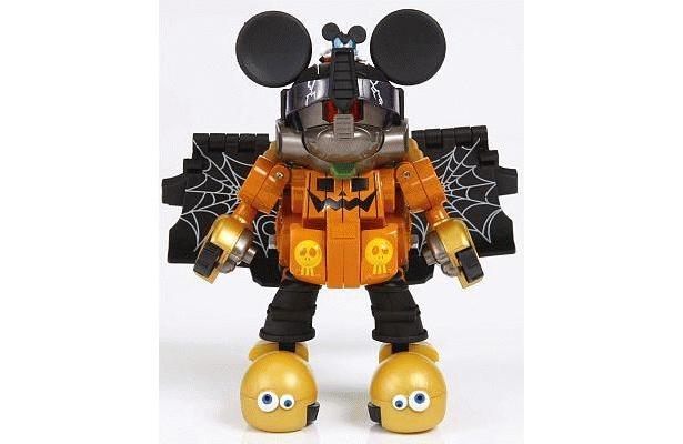 「トランスフォーマー ディズニーレーベル ミッキーマウストレーラー ハロウィンバージョン」。バイザーは上下に可動する