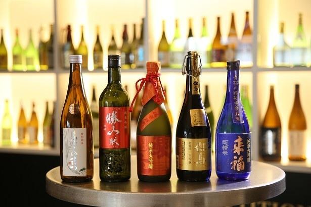 各部門で1位に輝いた日本酒(左から「あたごのまつ 特別純米」、「勝山 純米吟醸 献」、「愛友 純米大吟醸」、「但馬 大吟醸」、「来福 超精米 純米大吟醸」)