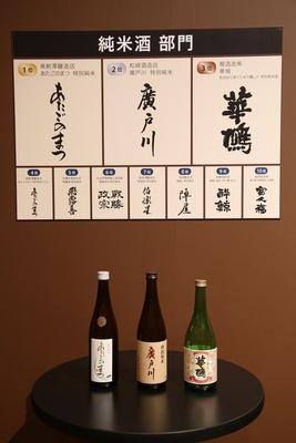 「純米酒部門 」の上位入賞銘柄