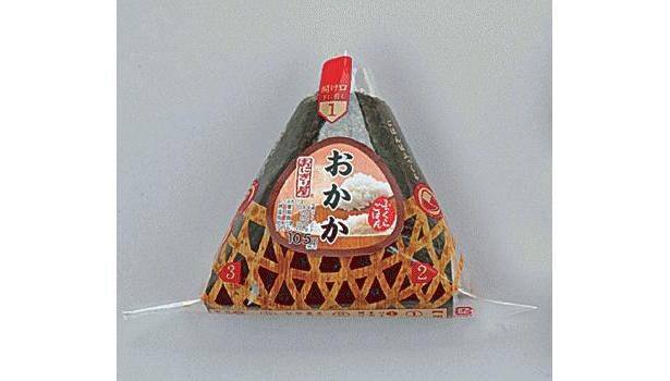 「ふっくら三角手巻 おかか」(西日本はかつお)は通常105円