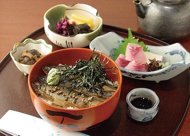 創業時から受け継がれるタレや実山椒が効いた、「あゆ茶漬」(1550円~ ※写真は上・1950 円)/鳥居茶屋