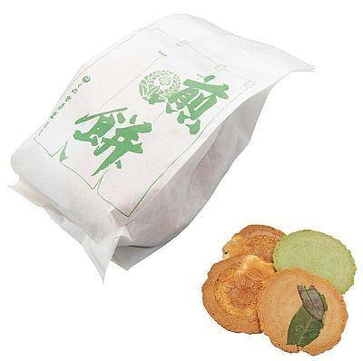 京野菜を中心に、ゴマやユズといった人気のせんべいが詰まったお得な徳用せんべいは525円。各日限定30個(B1/七條甘春堂)