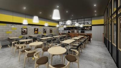 店内はグレーと黄色を基調に南国のプチリゾートをイメージしたモダンな内装