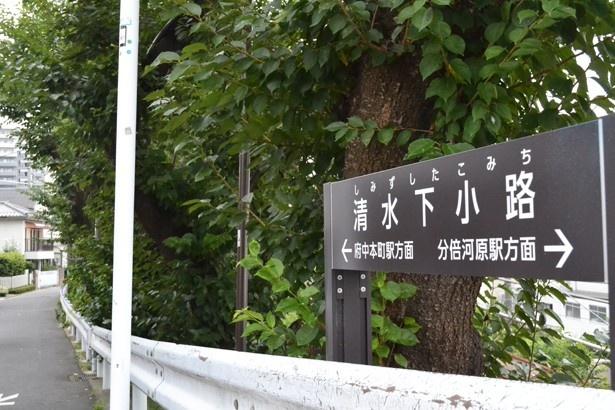 「下河原緑道」の「みょうらいばし」横に立つ看板(「清水下小路」)