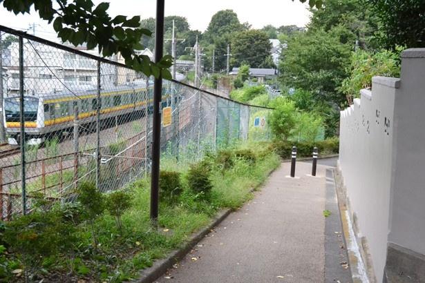 """""""おんぶ坂""""からは、劇中にも登場する南武線の電車が見られる(「清水下小路」)"""