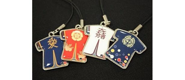 陣羽織ストラップ(各1260円)は全7種類ある。右から伊達政宗、石田光成、信長・秀吉、直江兼続