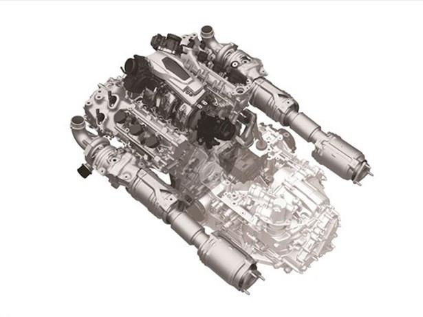 【写真を見る】新開発の3.5L V型6気筒 DOHCツインターボエンジン。これに9速DCTが組み合わされる