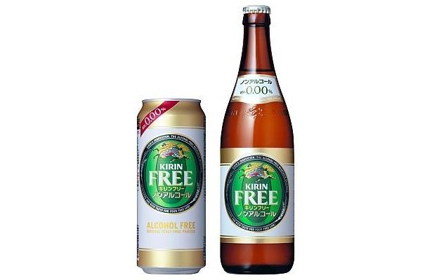 「キリン フリー」。9/16(水)に500ml缶、中ビン(500ml)が加わり、350ml缶と小ビンと合わせ、計4品種で展開することになる
