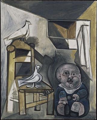 《子どもと鳩》 1943年(C)2008-Succession Pablo Picasso-SPDA〔JAPAN〕(C)Photo RMN-(C)Jean-Gilles Berizzi/distributed by DNPAC サントリー美術館にて展示