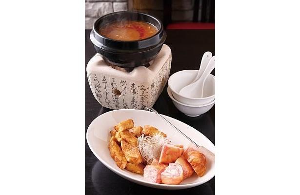【2辛】愛香楼の「揚げ豆腐の麻婆フォンデュ」は、ラストにとろみのあるスープをご飯にかけて楽しむ人も