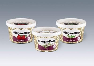 「ハーゲンダッツ アイスクリーム ミニカップ『25周年記念パッケージ』」。昔のデザインに近いもの(284円)