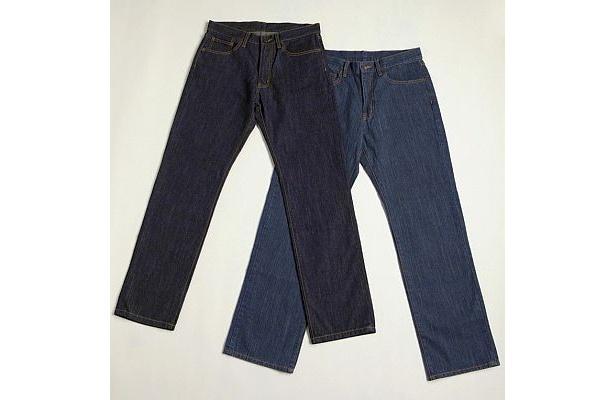 全63サイズあるメンズジーンズ。ネイビーはレギュラー(標準的なはき心地)、ブルーはリラックス(ゆったり)と履き心地も2種類ある