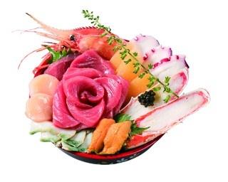 海鮮素材が贅沢にのった魚力の「海の宝石箱」(一折・1万800円)