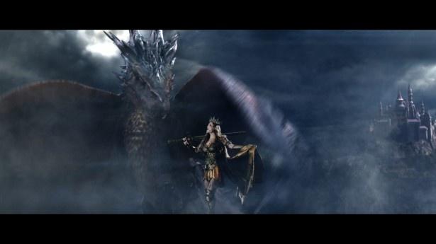 ドラゴンが現れるも、全く動じず歌い続ける