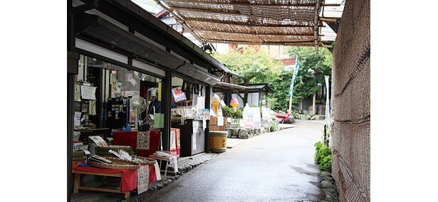 参道は呂川沿いに整備されている。途中には大原名物のシソ畑を望むことができる/三千院参道