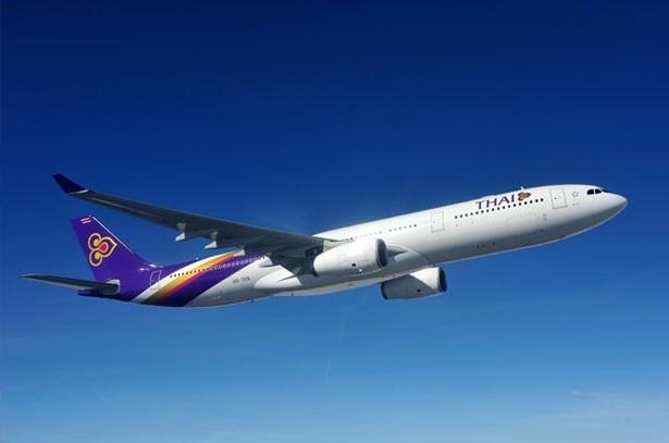 タイ国際航空の機体。バンコクのスワンナプーム空港より乗り継ぐ