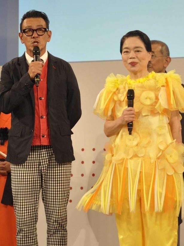 「京都と京都国際映画祭の架け橋 スペシャルゲスト」として登壇した今くるよと清水圭。二人とも京都の出身だ