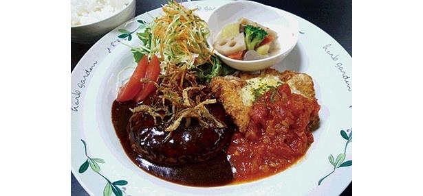家製手ごねデミグラスハンバーグとチキン料理がセットの「ハンバーグ&チキンDish」(1290円)/Café Dish らふ