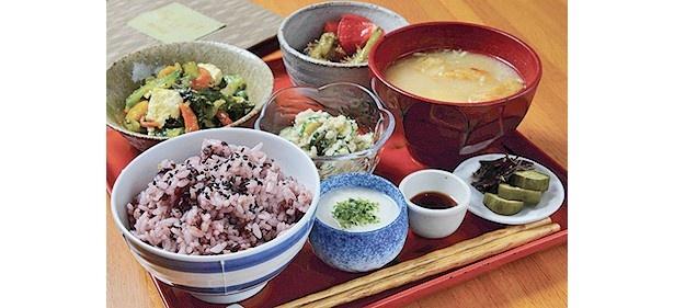 日替りの季節のおかずに、山イモのとろろなどが付く人気メニュー「五穀米のととろごはんランチ」(1300円)/おからはうす
