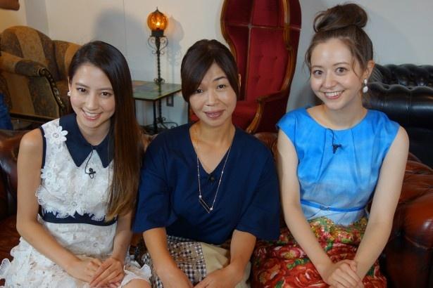河北麻友子、大久保佳代子、春香クリスティーンが、男性芸能人の考えたデートプランが、誰が考えたものかを推理する(写真左から)