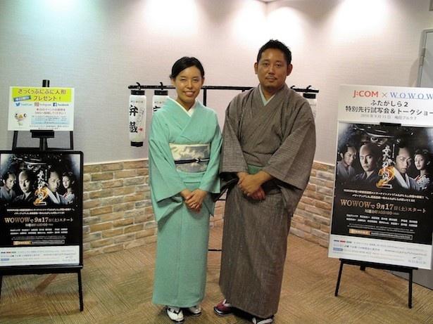 【写真を見る】舞台あいさつに登場した入江悠監督と松永綾プロデューサー(写真右から)