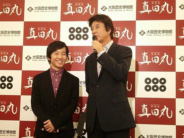 イベントに登壇した真田大助役の浦上晟周(左)と真田昌幸役の草刈正雄(右)